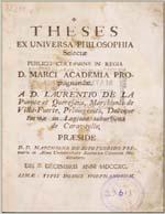 Cubierta para Theses ex universa philosophia selectae: publico certamine in regia D. Marci Academia Propugnandae