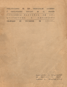 Cubierta para Publicaciones de los principales acuerdos y conclusiones habidas en el primer Congreso Nacional de Arquitectura y Urbanismo: celebrado en diciembre de 1934