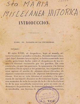 Cubierta para Memoria histórica sobre los sucesos ocurridos desde la caída de D. Bernardo O'Higgins en 1823 hasta la promulgación de la Constitucion dictada en el mismo año