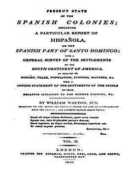 Cubierta para Present state of the spanish colonies: including a particular report of Hispañola or the Spanish part of Santo Domingo ; with a general survey of the settlements on the south continent of America, as relates to history, trade, population, customs, manners ; with a concise statement of the sentiments of the people on their relative situation to the mother country