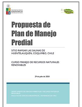 Cubierta para Propuesta de plan de manejo predial: sitio Ramsar Las Salinas de Huentelauquén, Coquimbo, Chile
