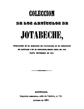 Cubierta para Colección de los artículos de Jotabeche: publicados en El Mercurio de Valparaíso, en el Semanario de Santiago i en el Copiapó, desde abril de 1841 hasta setiembre de 1847