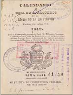 Cubierta para Calendario y guía de forasteros de la República Peruana para el año de 1842