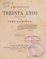 Cubierta para Recuerdos de treinta años: (1810-1840) :  Primera parte