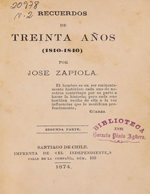 Cubierta para Recuerdos de treinta años: (1810-1840) : Segunda parte