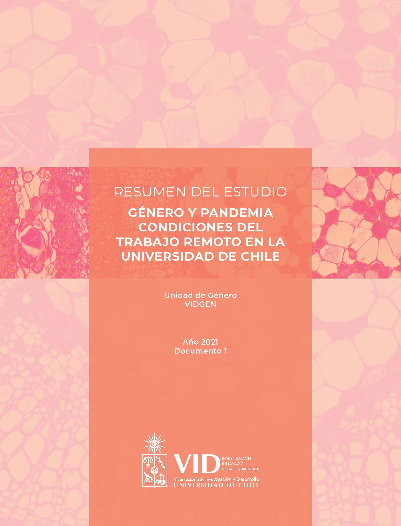 Cubierta para Género y pandemia: condiciones del trabajo remoto en la Universidad de Chile. Resumen del estudio