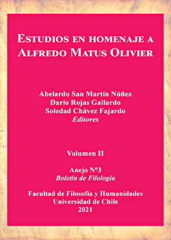 Cubierta para Estudios en homenaje a Alfredo Matus Olivier. Volumen II: Anejo N°3 Boletín de Filología