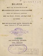 Cubierta para Diario de la expedición del Mariscal de Campo D. Juan Ramírez sobre las provincias interiores de La Paz, Puno, Arequipa y Cuzco
