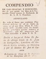 Cubierta para Compendio de las gracias e indulgencias de que gozan los hijos de la venerable Orden tercera de Penitencia de N. S. P. S. Francisco