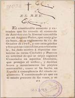 Cubierta para Real cédula de erección del Consulado de Chile expedida en Aranjuez a xxvi de febrero de MDCCXCV