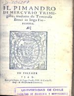 Cubierta para Il Pimandro di Mercurio Trimegisto: tradotto da Tommaso Benci.