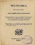 Cubierta para Memoria del Exmo. señor Don Bernardo O'Higgins: capitán jeneral en la República de Chile