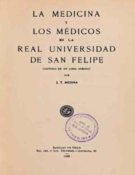 Cubierta para 1928 medicina y los médicos en la Real Universidad de San Felipe: (capítulo de un libro inédito)