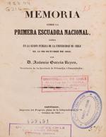 Cubierta para Memoria sobre la primera Escuadra Nacional: leída en la sesión pública de la Universidad de Chile el 11 de octubre de 1846
