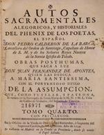 Cubierta para Autos sacramentales, alegóricos, y historiales del phenix de los poetas el español don Pedro Calderon de la Barca: obras posthumas : tomo cuarto