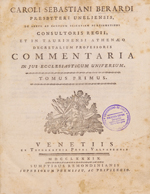 Cubierta para Commentaria in Jus Ecclesiasticum Universum: tomus primus