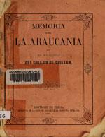 Cubierta para Memoria sobre la Araucanía  por un misionero del colejio de Chillan
