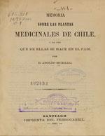 Cubierta para Memoria sobre las plantas medicinales de Chile i el uso que de ellas se hace en el país
