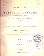 Cubierta para Narrative of the surveying voyages of his majesty's ships Adventure and Beagle (vol.1): between the years 1826 and 1836 : describing their examination of the southern shores of South America, and the Beagles's circumnavigation of the globe