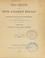 Cubierta para Opúsculos literarios i críticos (III).: Obras completas de Andrés de Bello. Volumen VIII