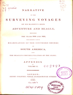 Cubierta para Narrative of the surveying voyages of his majesty's ships Adventure and Beagle (vol.2- Appendix): between the years 1826 and 1836 : describing their examination of the southern shores of South America, and the Beagles's circumnavigation of the globe