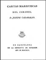 Cubierta para Cartas marruecas del coronel D. Joseph Cadahalso