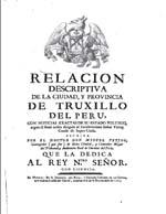 Cubierta para Relación descriptiva de la Ciudad, y Provincia de Truxillo del Perú: Relación descriptiva de la Ciudad, y Provincia de Truxillo del Perú
