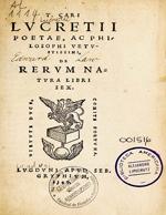 Cubierta para Lucretii poetae, ac philosophi vetustissimi, de rerum natura libri sex