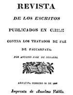 Cubierta para Revista de los escritos publicados en Chile contra los tratados de paz de Paucarpata