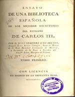 Cubierta para Ensayo de una biblioteca española de los mejores escritores del reynado de Carlos III: tomo primero