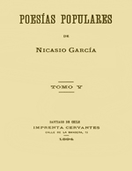Cubierta para Poesías populares: tomo V