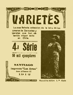 Cubierta para Varietés: la más selecta colección de canciones, vals, habaneras, mazurcas, duos, etc., y de los números de zarzuelas y operetas que han obtenido mayor éxito en Chile