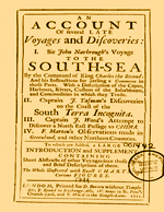 Cubierta para An account of several late voyages and discoveries: I. Sir John Narbrough's voyage to the South-Sea ... , : II. Captain J. Tasman's discoveries on the coast of the south terra incognita, : III. Captain J. Wood's attempt to discover a north-east passage to China, : IV. F. Marten's observations made in Green