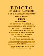 Cubierta para Edicto en que el ilustrísimo S. Dr. D. Bartolomé Bernardo Fabro de Palacios, obispo de Guamanga, del consejo de su magestad asigna salario a los tenientes de curas, y quaresmeros, con distinción de territorios, corrigiendo el abuso, y desorden con que se