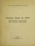 Cubierta para Claustro pleno de 1938: Discurso del Rector de esta Universidad, Don Juvenal Hernández