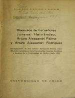 Cubierta para Discursos de los señores Juvenal Hernández, Arturo Alessandri Palma y Arturo Alessandri Rodríguez