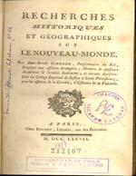 Cubierta para Recherches historiques et géographiques sur Le Nouveau-Monde
