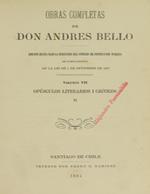 Cubierta para Opúsculos literarios i críticos (II).: Obras completas de Andrés de Bello. Volumen VII