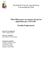 Cubierta para Plan piloto para un catastro de tierras adquiridas por CONADI: estudio exploratorio