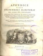 Cubierta para Apéndice a las costumbres maritimas del libro del consulado