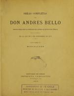 Cubierta para Obras completas de Don Andrés Bello: Volumen XV : Miscelánea