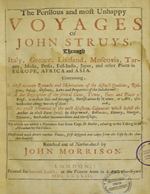 Cubierta para The perillous and most unhappy voyages of John Struys, through Italy, Greece, Lifeland, Moscovia, Tartary, Media, Persia, East-India, Japan, and other places in Europe, Africa and Asia