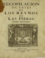 Cubierta para Recopilación de leyes de los Reynos de las Indias: Tomo segundo