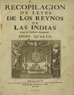 Cubierta para Recopilación de leyes de los Reynos de las Indias con el índice general: Tomo cuarto