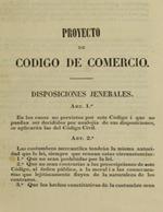 Cubierta para Proyecto de código de comercio: Disposiciones jenerales