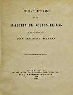 Cubierta para Suscrición de la Academia de Bellas-Letras a la estatua de don Andrés Bello