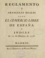 Cubierta para Reglamento y aranceles reales para el comercio libre de España a Indias de 12 de octubre de 1778