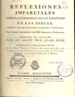 Cubierta para Reflexiones imparciales sobre la humanidad de los españoles en las Indias: contra los pretendidos filósofos y políticos, para ilustrar las historias de M M. Raynal y Robertson