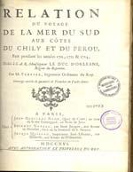Cubierta para Relation du voyage de la Mer du Sud aux côtes du Chily et du Perou: fait pendant les années 1712, 1713 & 1714