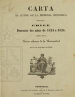 Cubierta para Carta al autor de la Memoria histórica tituladaChile durante los añosde1824 a 1828: leída enlasesión solemnede laUniversidad en 12deoctubrede1862